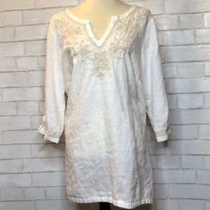 Charter Club Luxury Linen Embroidered Tunic